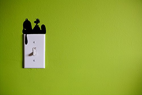 Snoopy and Woodstock Wall Light Switch Cover Decal / BLACK / Kids Room Home (Snoopy Wall Decor)