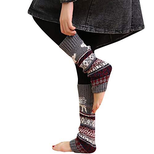 YOcheerful Women Winter Warm Slipper Socks Christmas Leg Cable Knitted Crochet High Long Socks Leggings -
