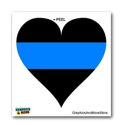 "Window Bumper Laptop Sticker 5/"" Thin Blue Line Heart Police Policemen"