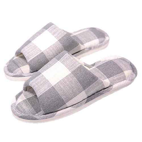 Plaid Slip Shoes (Indoor Home slippers Cotton Cozy Flax Plaid Non-slip Open Toe Sandals)
