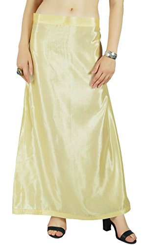 Yellow Sari (Indian Satin Silk Petticoat Bollywood Solid Inskirt Lining For)