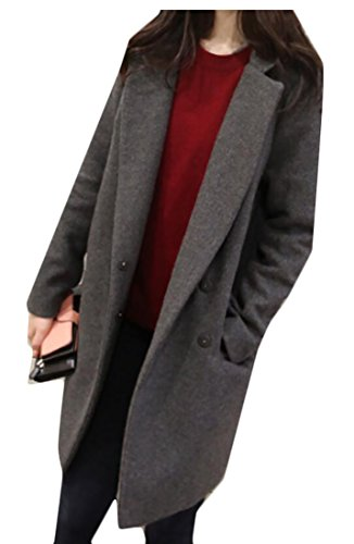 WSPLYSPJY Women's Korea Lapel Wool Pea Coat Overcoat Jackets 1 XS