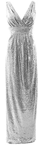 Formal Neck Dress Gorgeous Silber Long Sequin Bridesmaid Wedding V MACloth Party Gown TzAaqpp