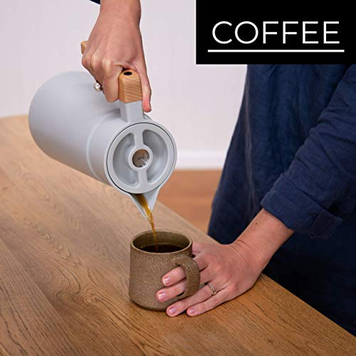 Large Thermal Coffee Carafe - Stainless Steel, Double Walled Thermal Pots For Coffee and Teas by Hastings Collective - Gray, Vacuum Carafes With Removable Tea Infuser and Strainer   68 Oz. by Hastings Collective (Image #2)