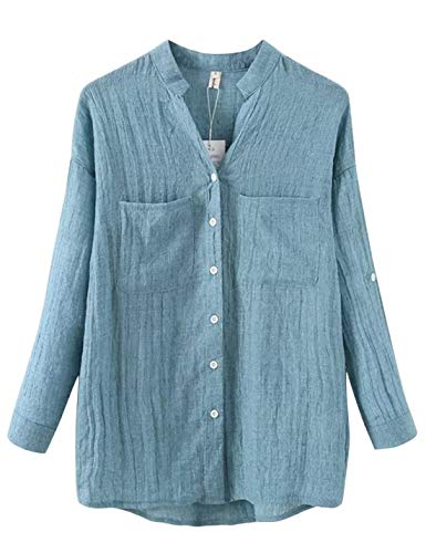 Lentta Women's Long Roll Up Sleeves Button Down V Neck Thin Summer Linen Shirts (Small, Denim Blue) -