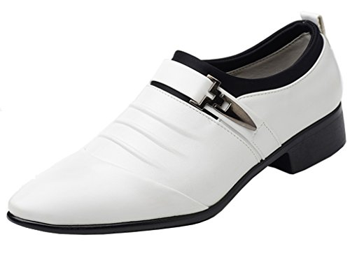 Femaroly Leather Men Oxford Walking Dress Shoes Point Toe Slip On Loafer Shoes for Men Comfortable Classic Modern Formal Business Shoes White 7M by Femaroly