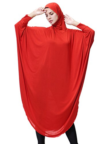 GladThink Womens Muslim Bat's-wing-sleeves Dress Hijab Two in One RED M