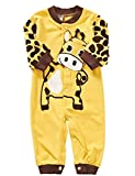 Cute Newborn Infant Girl Boy Long Sleeve Romper Clothes Pajamas Nightwear (80(3-6Months), Yellow ground)