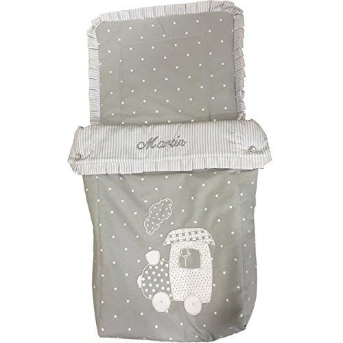 saco bebe para capazo tre gris con nombre: Amazon.es: Handmade