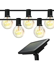 Outdoor Solar String Lights, 48ft/15m, 18 Pcs Solid Weatherproof LED Glass Bulbs with 4 Lighting Modes, Solar or USB Charging Powered, Fairy Light for Indoor and Outdoor Decoration. IDEER LIFE