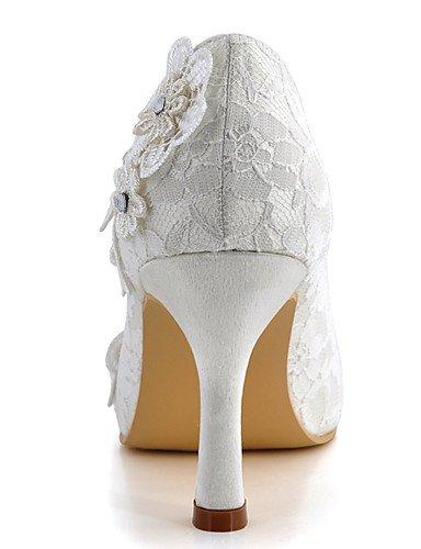 Mariage des De amp; nbsp;soirée Blanche Des 3 Rond Ijkmn Talon talons Aiguilles Talons Femmes 3 4in fête white Bout robe Chaussures Ggx Soie 3in fZnq5aPn