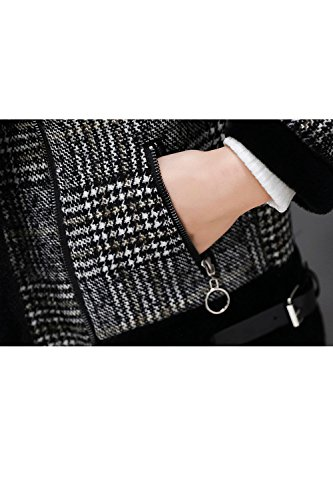 Winter La Casual Outcoat Fleece Lapel Mujer Plaid Zip Parkas Top Warm Collar Black wwP0R