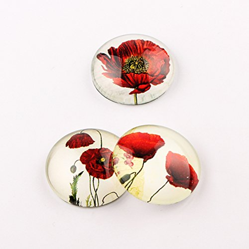 Handmade round glass cabochon mix poppy flower photo diy jewelry making findings (30mm 20pcs)