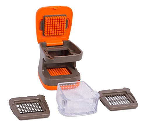 Internet's Best Garlic Dicer and Slicer | Mincer Press Vegetable Food Garlic Chopper | Plastic Tray Catcher Canister | 2 Blades | Orange and Brown