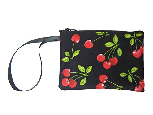 US HANDMADE FASHION Electronic Device Clutch Purse, Wristband Makeup Bag, Cosmetic Bag With RED CHERRY ROCKABILLY PATTERN , COTTON, NEW, SCB 4007
