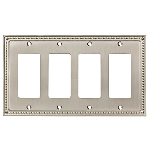 Quad Switch Wall Plate - Franklin Brass W35069-SN-C Classic Beaded Quad Decorator Wall Plate/Switch Plate/Cover, Satin Nickel