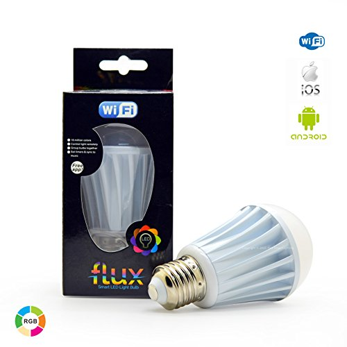Flux WiFi Smart LED Light Bulb - Compatible with Alexa, Google Home Assistant & IFTTT - Smartphone Controlled Multicolored Color Changing Lights - Sunrise Wake Up Light & Dimmable Night Light ()