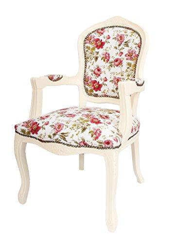 Louis estilo antiguo francés sillón marfil Vintage estampado ...