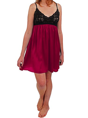 (Dana Chemise- Lace Bust with Liquid Charmeuse Skirt (Large, Berry Red))