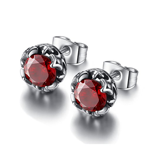 (REVEMCN Jewelry Silver Tone Stainless Steel Vintage Stud Earrings for Men Women, Various Styles (Red CZ))