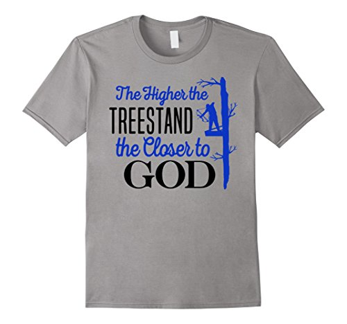 Mens Bow Hunting Treestand Shirt Closer God Archery Hunter Gift Large (Bowhunter Treestand)