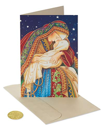 American Greetings 6027138 Premium Madonna and Child Christmas Boxed Cards and Gold Foil-Lined White Envelopes, 14-Count,