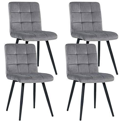 Duhome Set of 4 Kitchen Dining Chairs,Mid Century Chairs Accent Chairs Grey Velvet Cushion Side Chairs with Sturdy Metal Legs for Home Kitchen Living Room