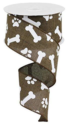 Ribbon Bone Dog - Brown White Dog Paw Print 2.5