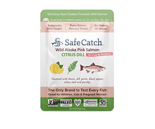 Safe Catch Wild Alaska Pink Salmon, 12 pack (2.6oz pouch) - Citrus Dill -