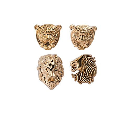 Knighthood Men's Set of Lion and Jaguar Lapel Pin -