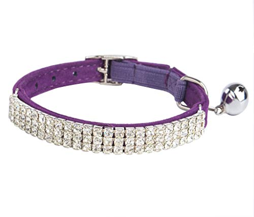 BINGPET Adjustable Cat Collar Soft Velvet Safe Collars Bling Diamante with Bells, Purple