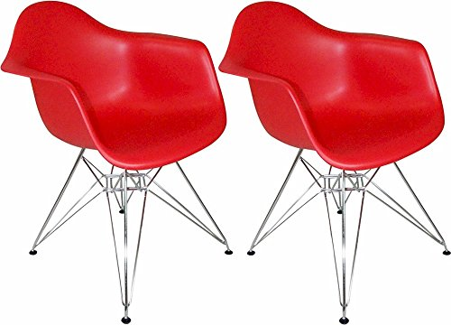 Mod Made Mid Century Modern Paris Tower Dining Arm Chair Chrome Leg, Red, Set of 2