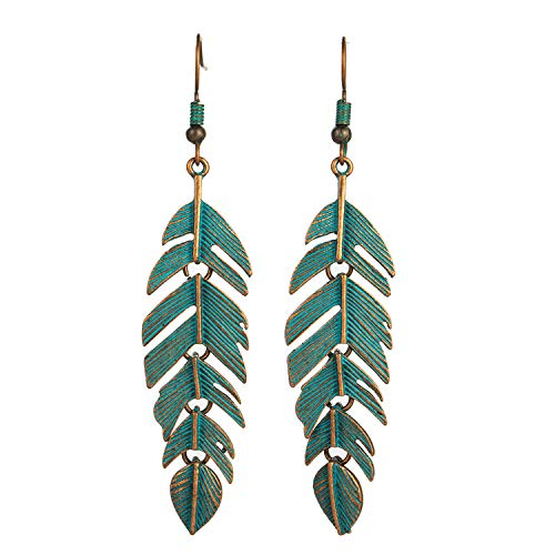 Retro leaf tassel eardrop earring ethnic bohemian leaves hanging dangle drop ()