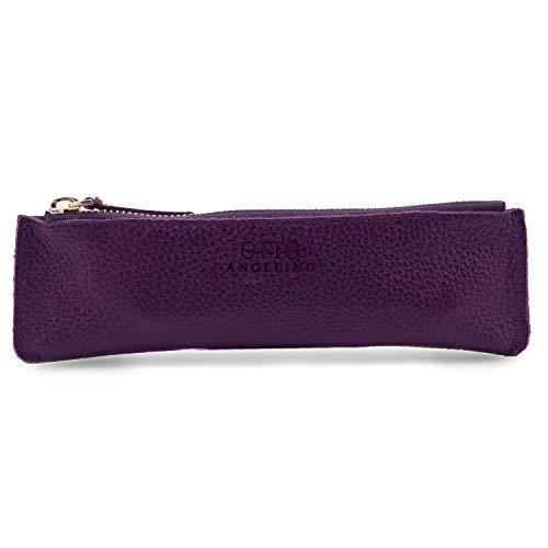 Otto Angelino Zippered Genuine Leather Pen and Pencil Case (Purple)