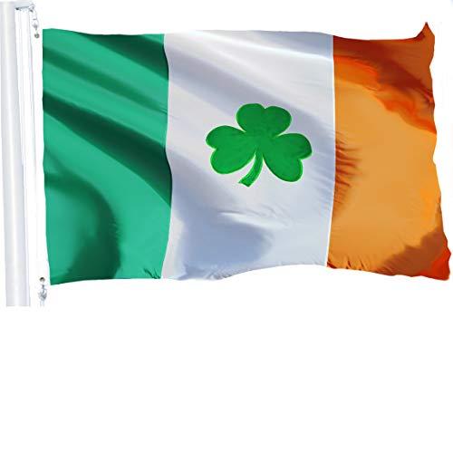 G128 – Irish Flag (Shamrock) | 3x5 feet | Embroidered – Ireland, Vibrant Colors, Brass Grommets, Quality Polyester -