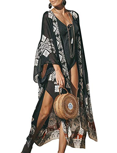 Women's Long Kimono Plus Size Chiffon Sheer Floral Casual Loose Cardigan Summer Open Beach Cover Ups (Black, 3XL)