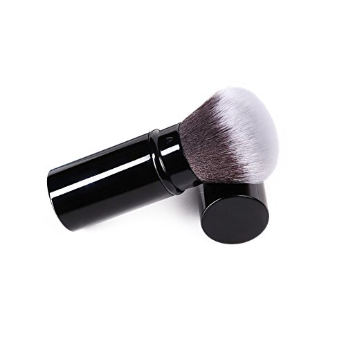 (Aguder Soft Nylon Fiber Bristles Retractable Makeup Brush, Black)