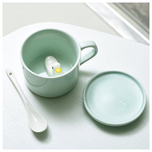 3D Cute Cartoon Miniature Animal Figurine Ceramics Coffee Cup with Spoon - Baby Animals Inside, Best Birthday Gift Idea (Duck)