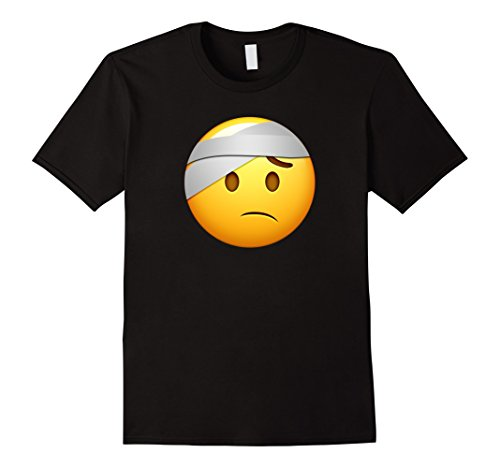 Mens Hospital Emoji T-Shirt Sick Vomit Fever Injured Bandage Aid XL Black