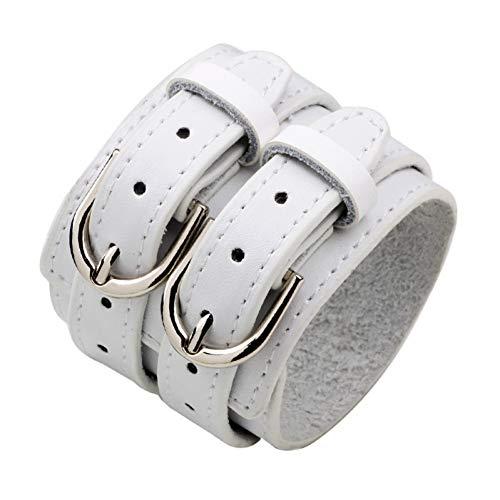(HUSHOUZHUO Fashion Double Belt Leather Wrist Friendship Big Wide Bracelet for Men Buckle Vintage Punk Jewelry)