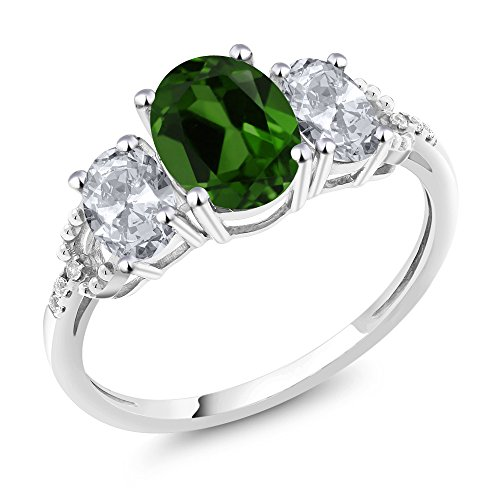 10K White Gold Diamond Accent Three Stone Engagement Ring set with 2.25 Ct Oval Green Chrome Diopside White Topaz (Available in size 5, 6, 7, 8, 9)