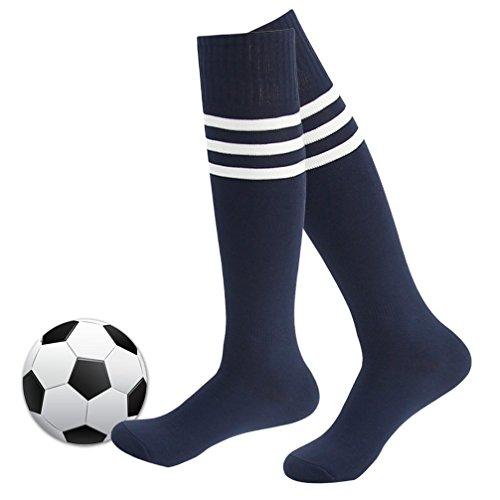 Womens Football Socks,Fasoar Unisex Knee High Rubgy Baseball Sports Socks 2 Pairs Navy Blue (Womens Navy Rugby)