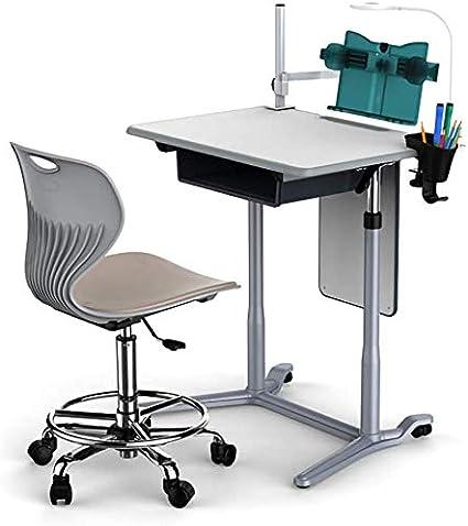 Mesas y sillas Escritorio del estudiante y Juego de sillas, elevación neumática infantil Mesa de Educación y Presidente, sólido escritorio de madera con ruedas, con cajones, fácil de instalar / Como s