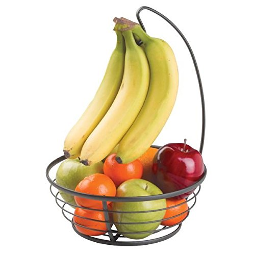 mDesign Fruit Centerpiece Tree Bowl with Banana Hanger for Kitchen Countertops - Matte Black (Basket Fruit Tree Banana)
