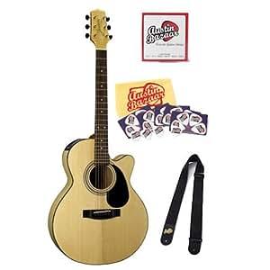 jasmine by takamine es34cfm nex cutaway acoustic electric guitar bundle with strap. Black Bedroom Furniture Sets. Home Design Ideas