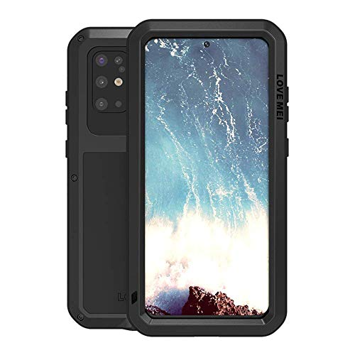 Galaxy S20 Plus Case,Bpowe Fully Body Protection Gorilla Glass Aluminum Alloy Protective Metal Resistant Shockproof Military Bumper Heavy Duty Cover Case for Samsung Galaxy S20+/S20 Plus 5G (Black)
