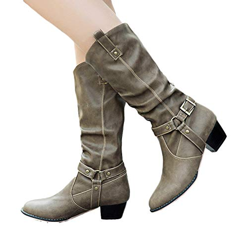 Offers,ZLolia Women Mid Heel Knee High Boots Solid Color Non-Slip Artificial Leather Shoes