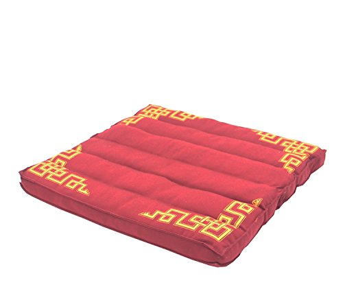 DharmaObjects Traditional Tibetan Yoga Meditation Accessory Cotton Mat Cushion (Maroon)