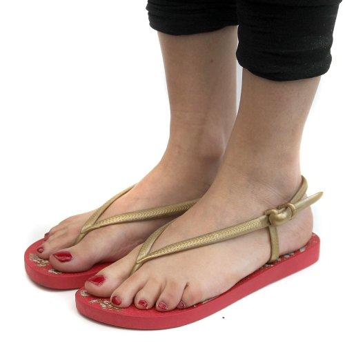 Dunlop Blown PVC Slingback Damen Flip-Flops, Rot