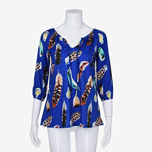 Bleu Shirt Tops Chemisier Grand Blouse Lache Feather Blouse Couleur Femme Taille V Print Sweatshirt Manches Longues Sweat T Pull Innerternet en Mode Col BnFHxATqHw